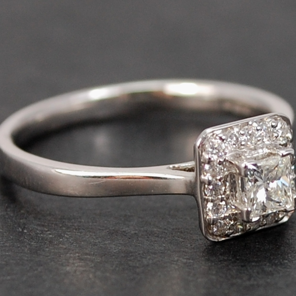 18ct White Gold Square Halo Diamond Cluster Ring  in Modern Jewellery from Coopers Jewellery, North Devon