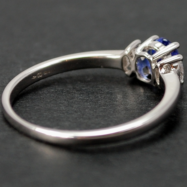 18ct White Gold Tanzanite and Diamond 3 Stone Ring in Modern Jewellery from Coopers Jewellery, North Devon