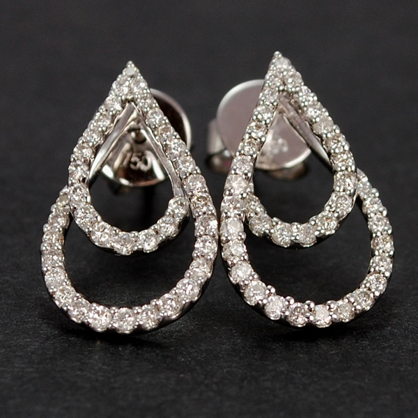 18ct White Gold Pear Shape Diamond Stud Earrings in Modern Jewellery from Coopers Jewellery, North Devon