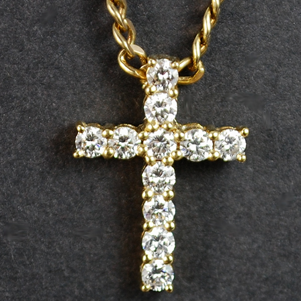 18ct Yellow Gold Diamond Cross Pendant  in Vintage Jewellery from Coopers Jewellery, North Devon
